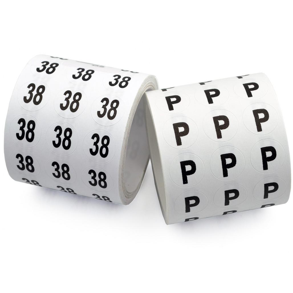 Etiqueta Adesiva 13 mm Números ou Tamanhos