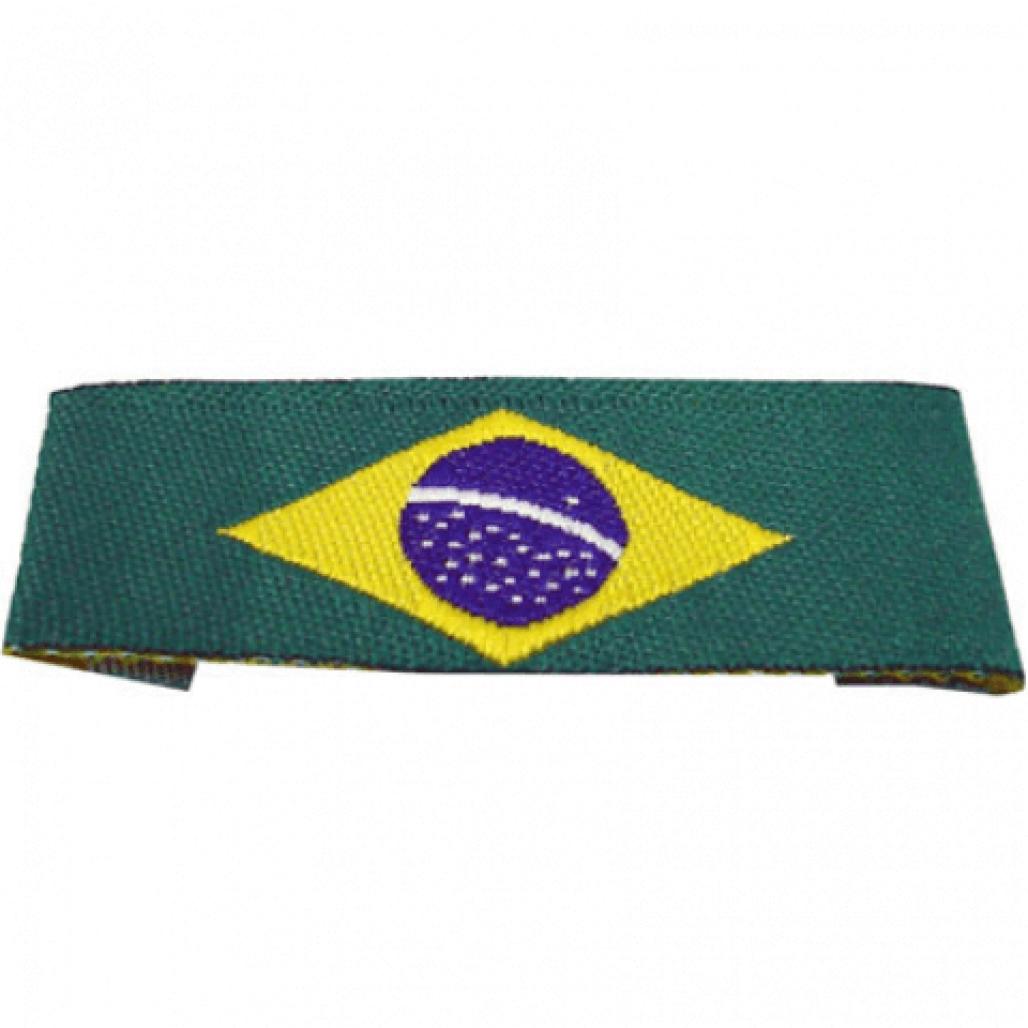 Etiqueta Bordada Bandeira do Brasil - Dobra nas Pontas - Alta Definição - 15 x 40 mm