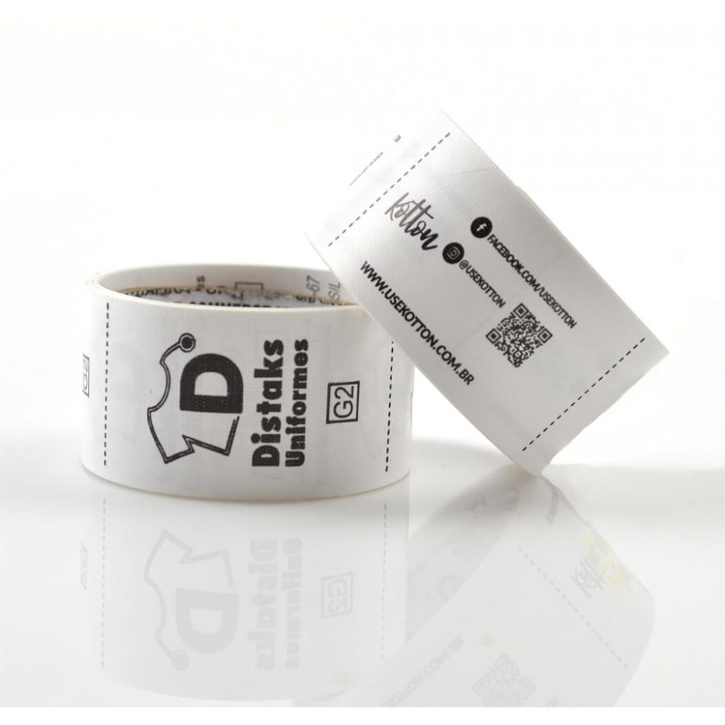 Etiqueta em Nylon Resinado Premium Emborrachado Branco, Largura 25 mm com Opções Personalizadas