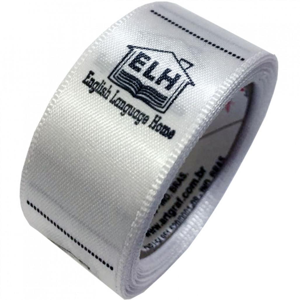 Etiqueta em Cetim Premium Branco, Largura 22 mm, com Opções Personalizadas