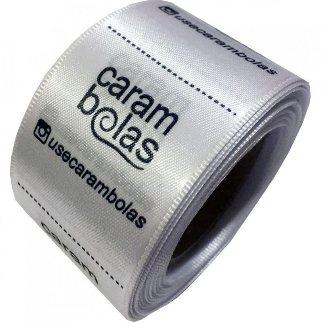 Etiqueta em Cetim Premium Branco, Largura 38 mm, com Opções Personalizadas
