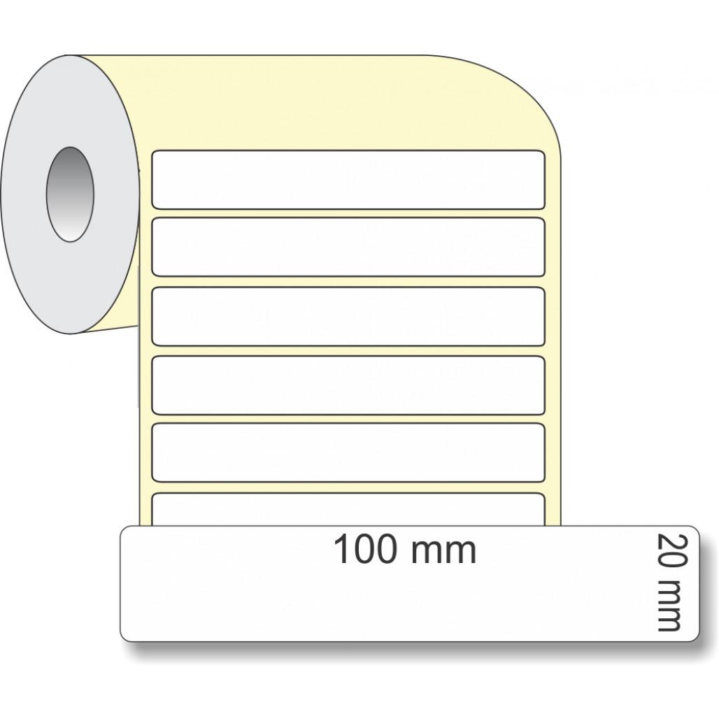 Etiqueta Adesiva Térmica, 100 x 20 mm x 1 coluna, para Impressoras Térmicas
