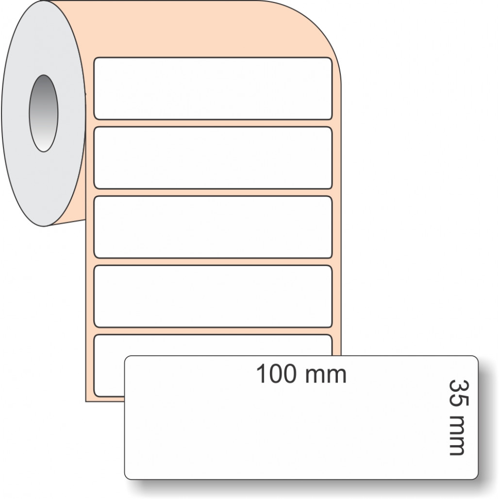 Etiqueta Adesiva BOPP, 100 x 35 mm x 1 coluna, para Impressoras Térmicas