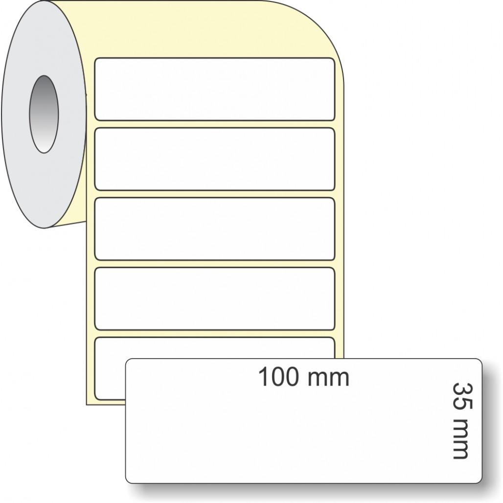 Etiqueta Adesiva em Papel Térmico, 100 x 35 mm x 1 coluna, para Impressoras Térmicas Diretas