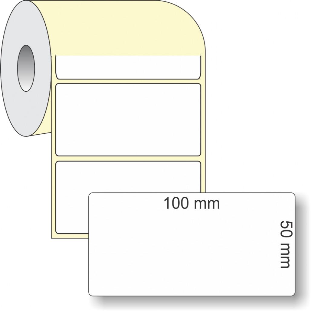 Etiqueta Adesiva em Papel Térmico, 100 x 50 mm x 1 coluna, rolo com 36 metros, para Impressoras Térmicas Diretas