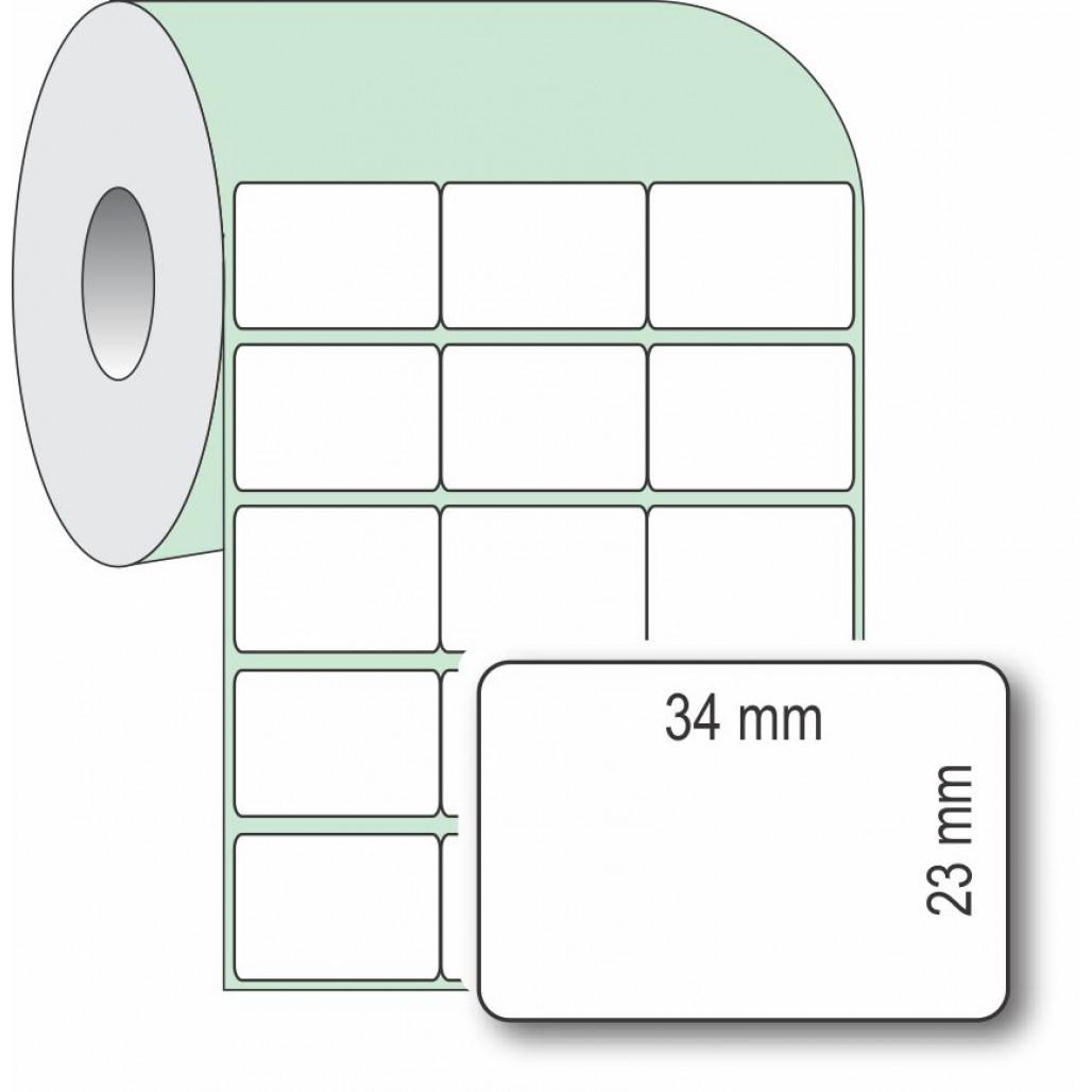 Etiqueta Adesiva Couchê, 34 x 23 mm x 3 colunas, rolo com 36 metros, para Impressoras Térmicas