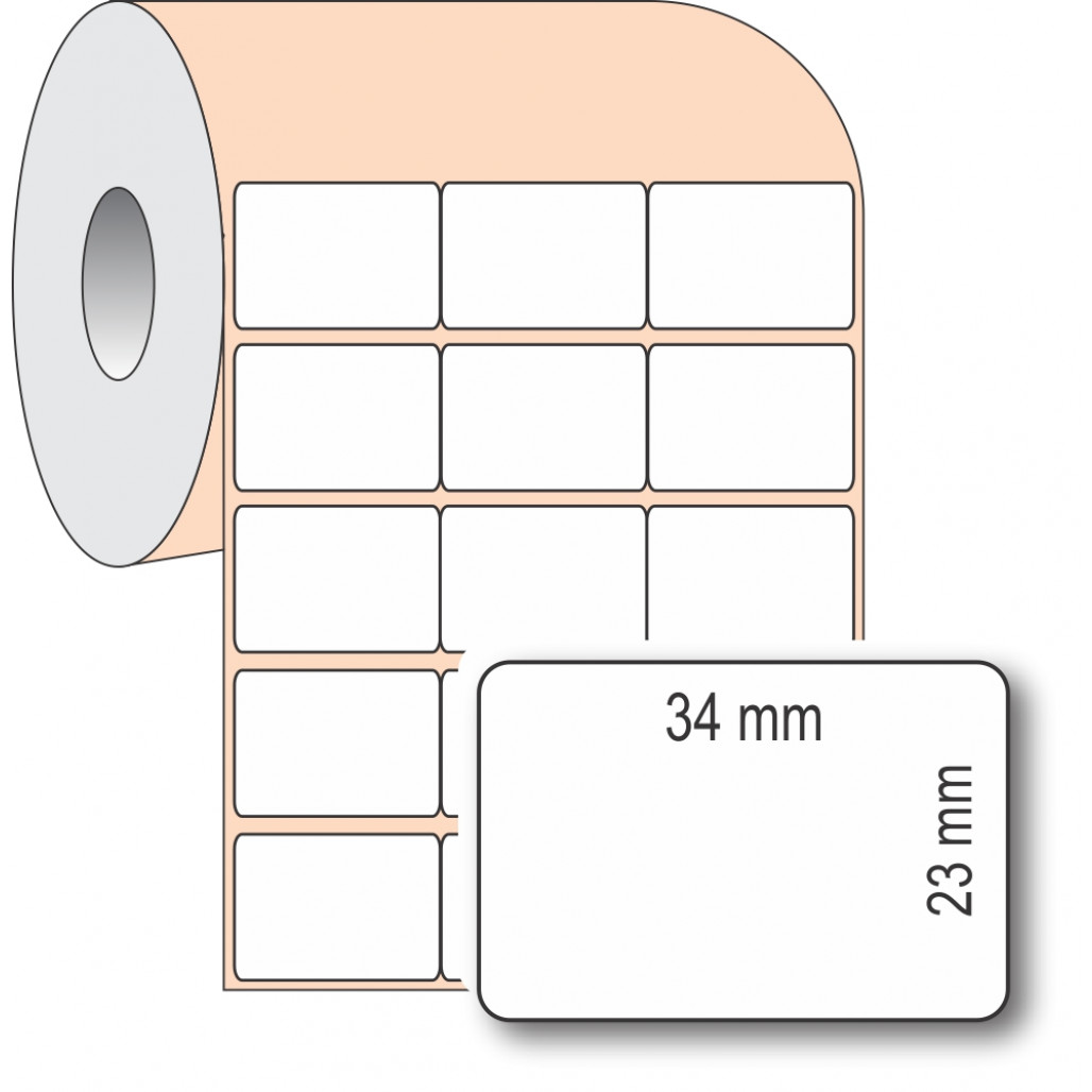 Etiqueta Adesiva BOPP, 34 x 23 mm x 3 colunas, para Impressoras Térmicas