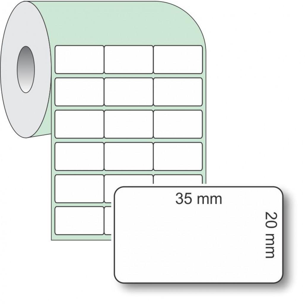 Etiqueta Adesiva Couchê, 35 x 20 mm x 3 colunas, para Impressoras Térmicas