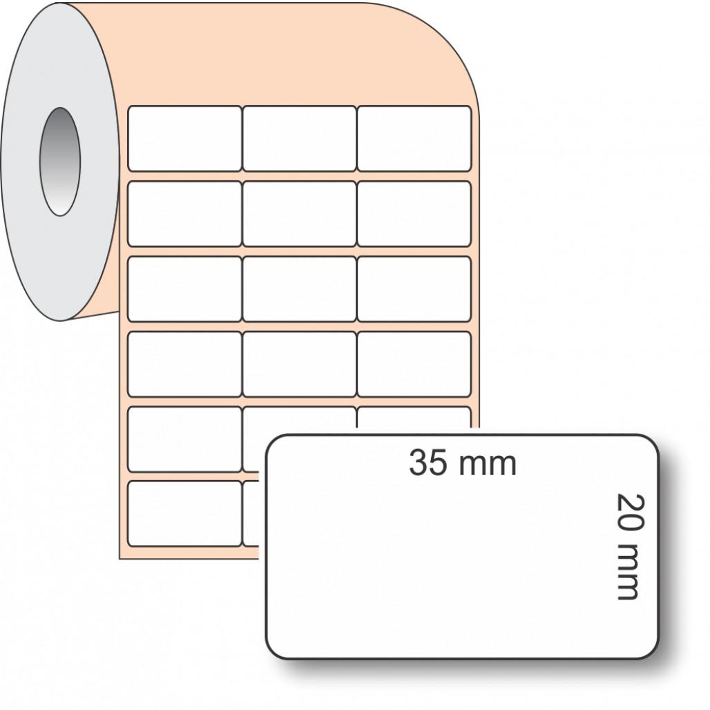 Etiqueta Adesiva BOPP, 35 x 20 mm x 3 colunas, para Impressoras Térmicas