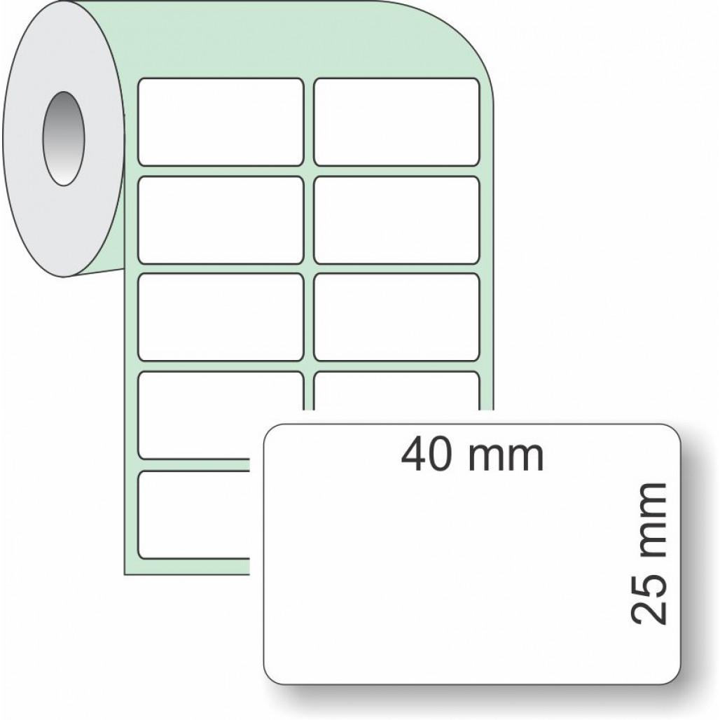 Etiqueta Adesiva Couchê, 40 x 25 mm x 2 colunas, para Impressoras Térmicas