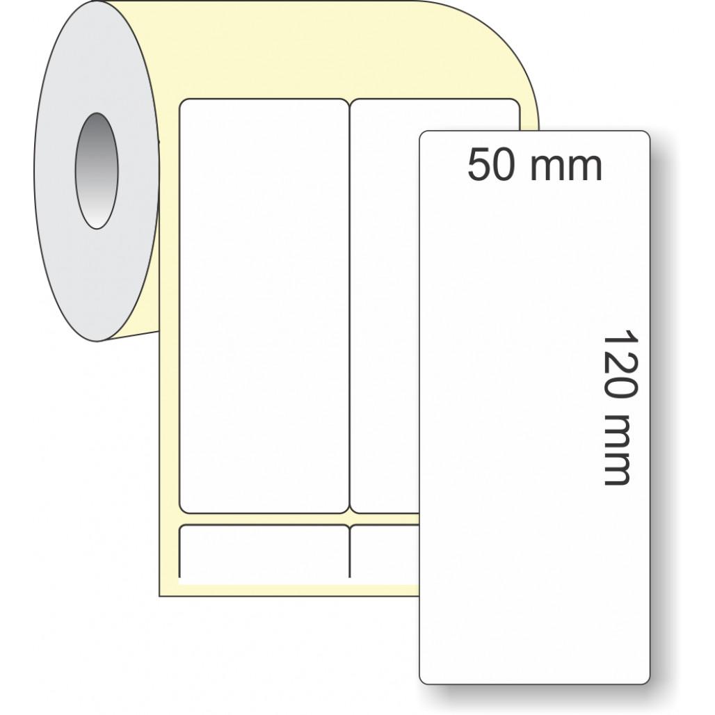 Etiqueta Adesiva Térmica, 50 x 120 mm x 2 colunas, para Impressoras Térmicas