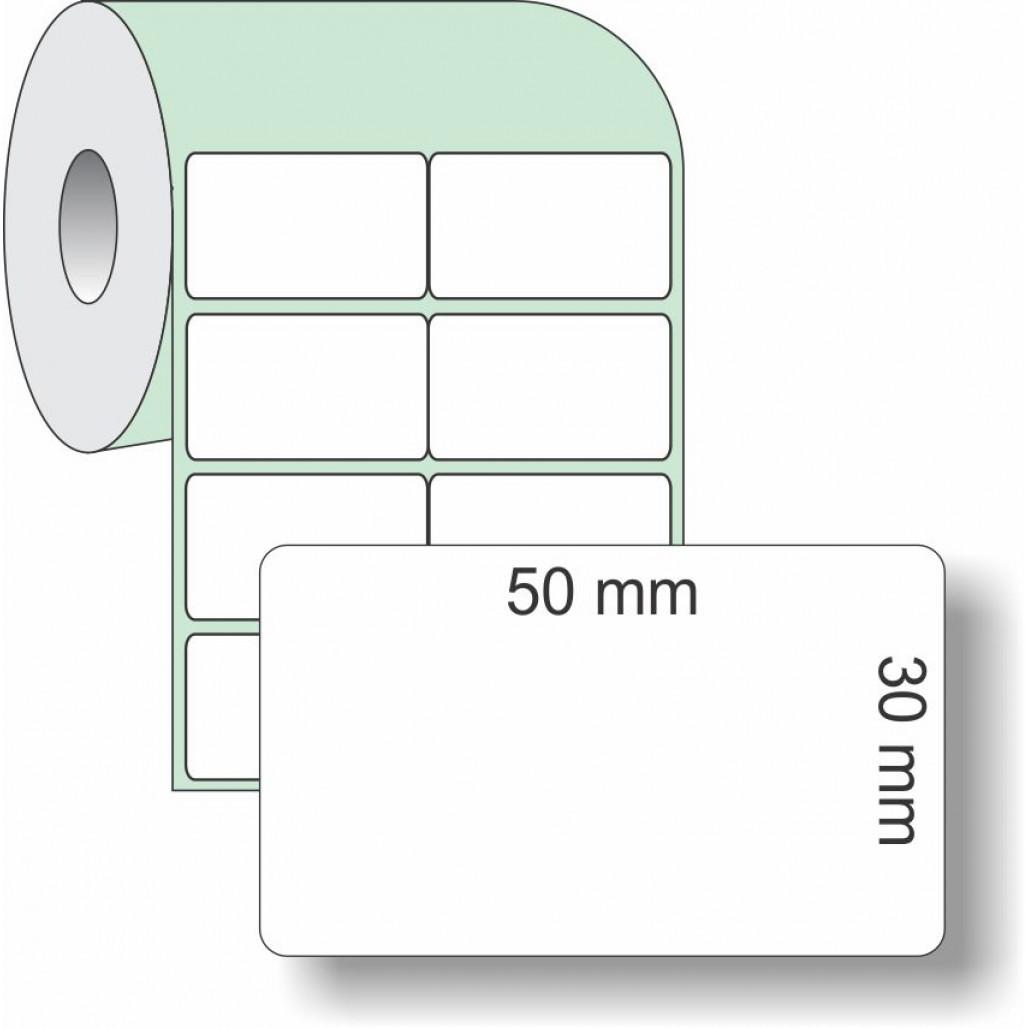 Etiqueta Adesiva Couchê, 50 x 30 mm x 2 colunas, para Impressoras Térmicas