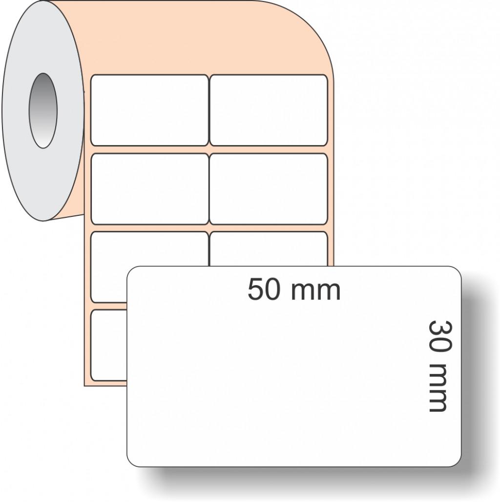 Etiqueta Adesiva BOPP, 50 x 30 mm x 2 colunas, rolo com 36 metros, para Impressoras Térmicas