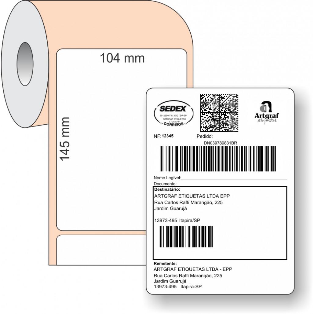 Etiqueta Adesiva BOPP, 104 x 145 mm x 1 coluna, SIGEP WEB CORREIOS, para Impressoras Térmicas