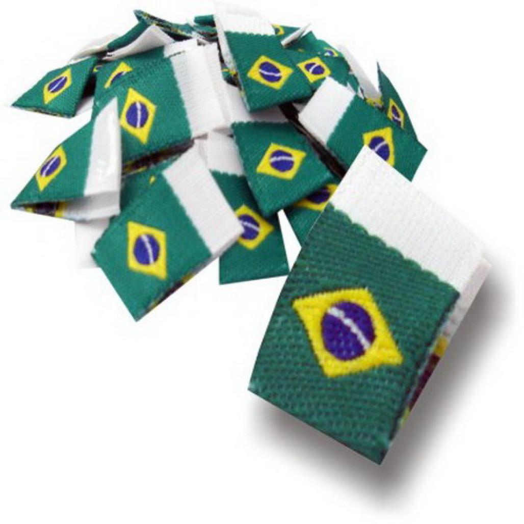 Etiqueta Bordada Bandeira do Brasil - Dobra ao Meio - Alta Definição - 11 x 35 mm