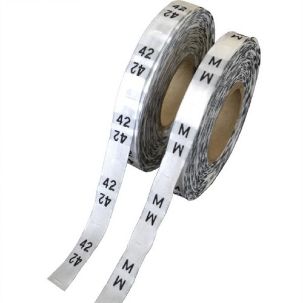 Etiqueta Bordada Números ou Tamanhos, Fundo Branco, em Rolos