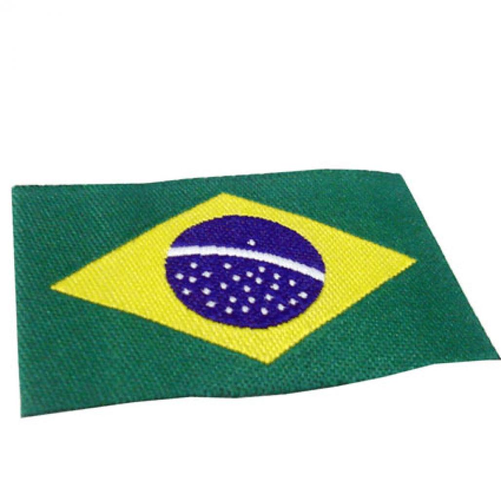 Etiqueta Bordada Bandeira do Brasil - Dobra nas Pontas - Alta Definição - 28 x 40 mm