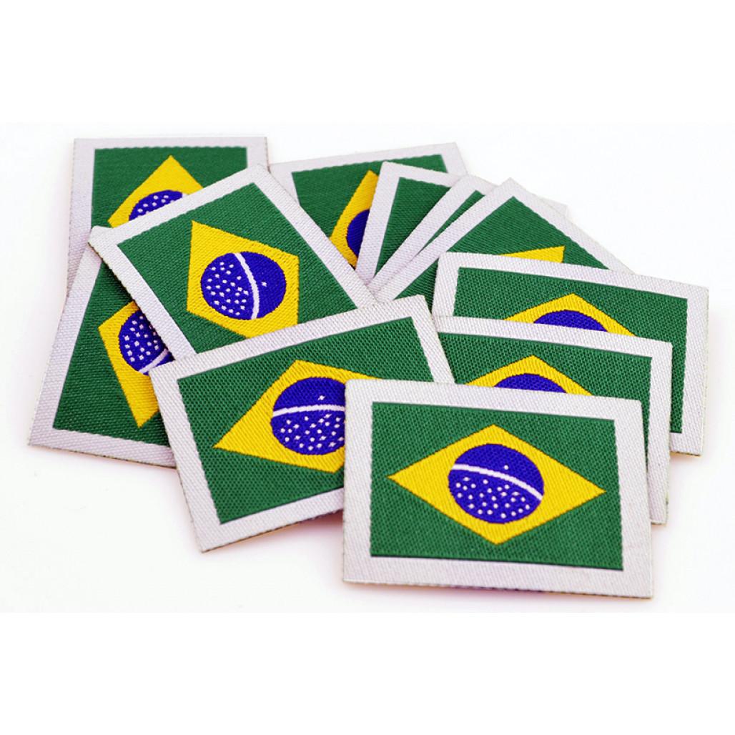 Patch Bordado Termocolante Bandeira do Brasil 26 x 36 mm