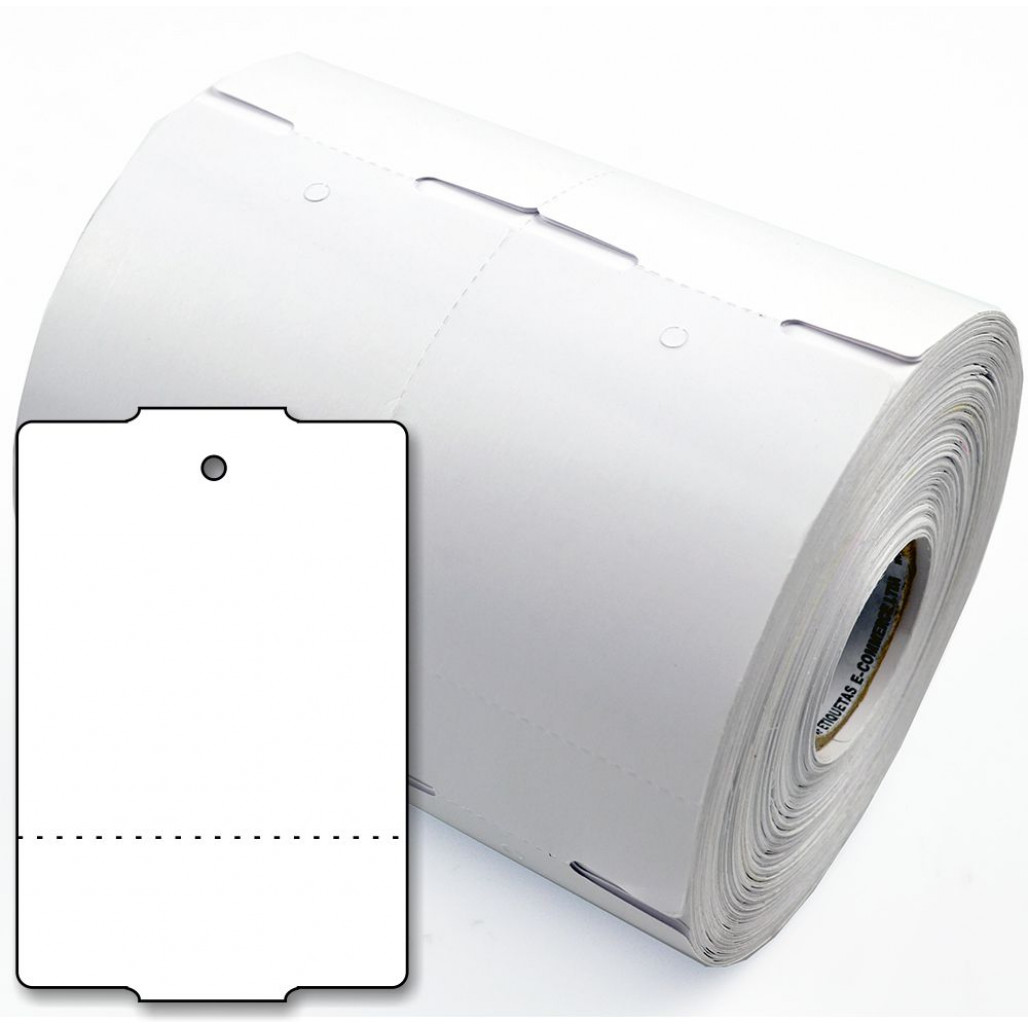 Tag de Papel Couchê 75 x 50 mm para Impressoras Térmicas