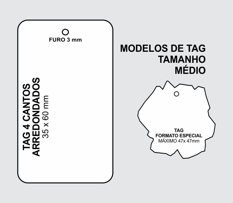 Tag Couchê, 300 g, 35 x 60 mm, com Opções Personalizadas